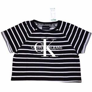 Calvin Klein Logo Crop - Black & White Striped- XL